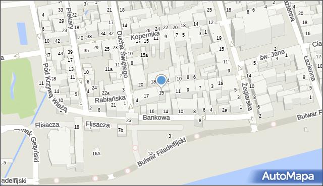 Toruń, Rabiańska, 15, mapa Torunia