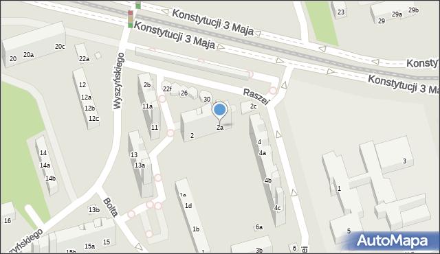 Toruń, Raszei Leona, 2a, mapa Torunia