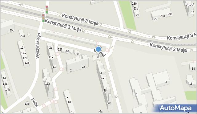 Toruń, Raszei Leona, 2c, mapa Torunia