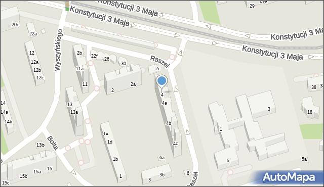 Toruń, Raszei Leona, 4, mapa Torunia