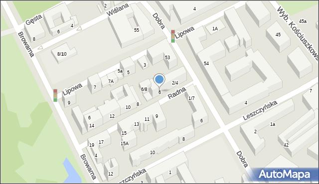 Warszawa, Radna, 6, mapa Warszawy