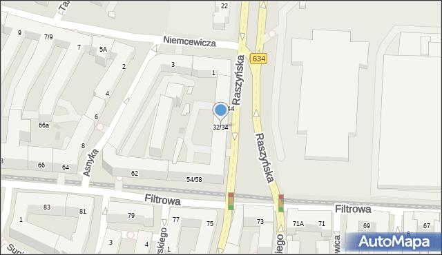 Warszawa, Raszyńska, 32/34, mapa Warszawy