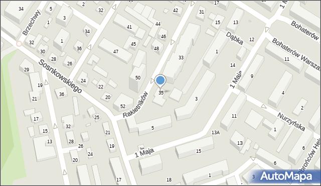 Warszawa, Rakietników, 35, mapa Warszawy