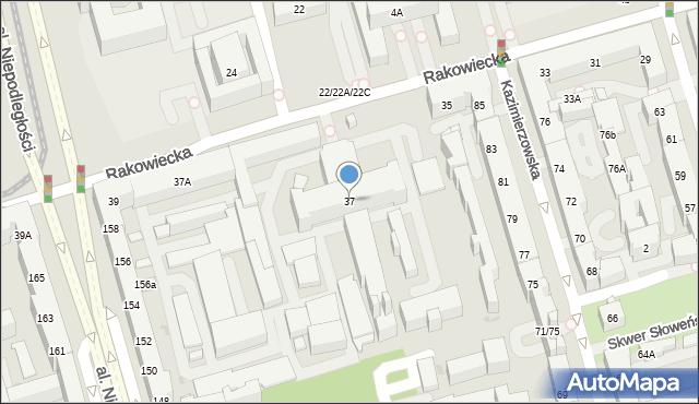 Warszawa, Rakowiecka, 37, mapa Warszawy