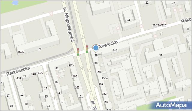 Warszawa, Rakowiecka, 39, mapa Warszawy