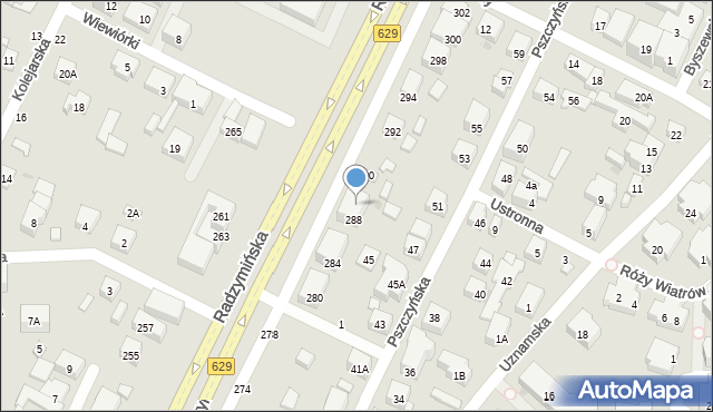 Warszawa, Radzymińska, 288A, mapa Warszawy