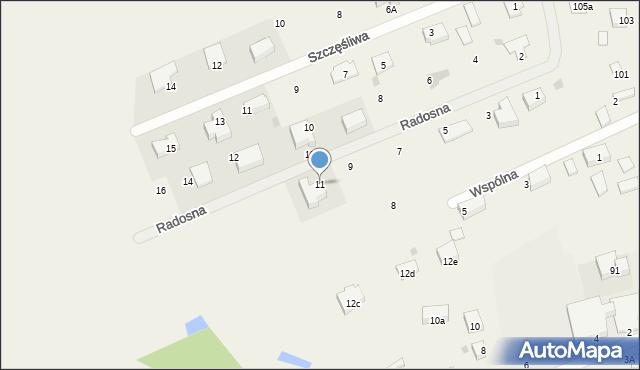Żółtańce-Kolonia, Radosna, 11, mapa Żółtańce-Kolonia