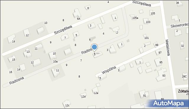 Żółtańce-Kolonia, Radosna, 5, mapa Żółtańce-Kolonia