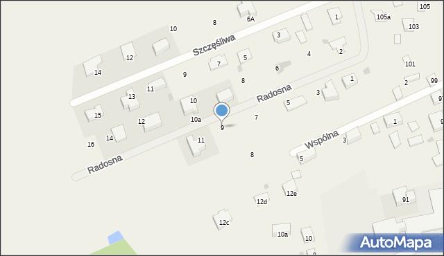 Żółtańce-Kolonia, Radosna, 9, mapa Żółtańce-Kolonia