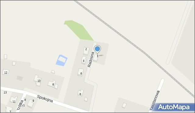 Żurawiniec, Radosna, 1, mapa Żurawiniec