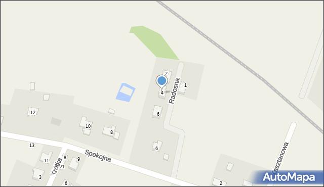 Żurawiniec, Radosna, 4, mapa Żurawiniec