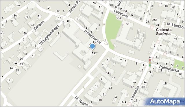 Chełm, Reformacka, 13A, mapa Chełma