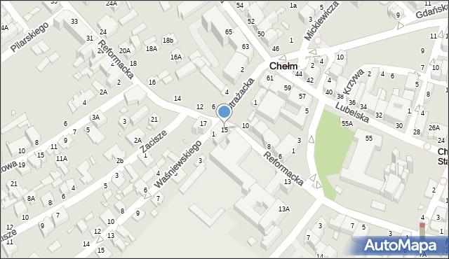 Chełm, Reformacka, 15, mapa Chełma