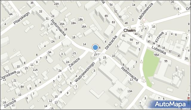 Chełm, Reformacka, 17, mapa Chełma