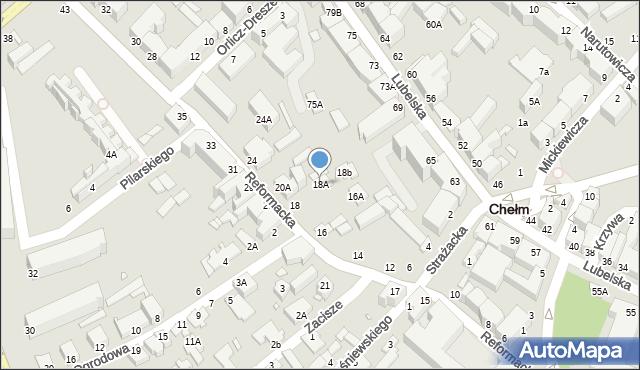 Chełm, Reformacka, 18A, mapa Chełma