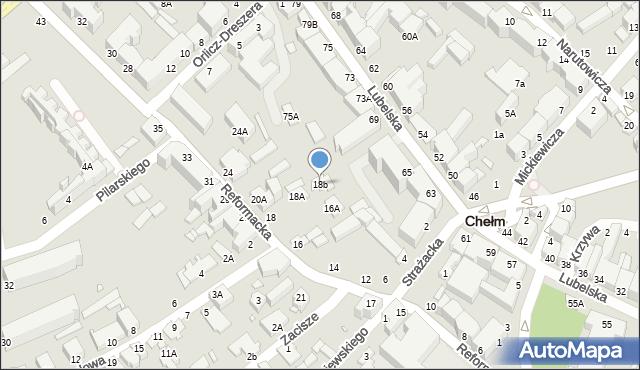 Chełm, Reformacka, 18b, mapa Chełma