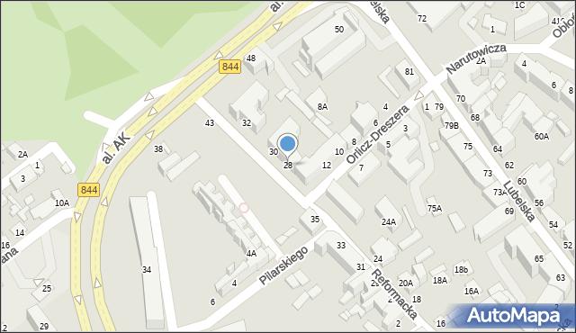 Chełm, Reformacka, 28, mapa Chełma