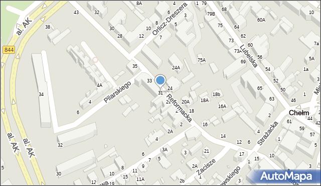 Chełm, Reformacka, 31, mapa Chełma