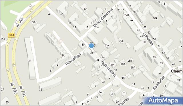 Chełm, Reformacka, 33, mapa Chełma