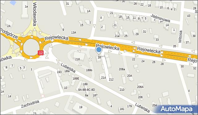 Chełm, Rejowiecka, 16, mapa Chełma