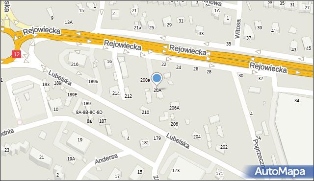 Chełm, Rejowiecka, 20A, mapa Chełma