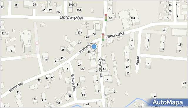 Gliwice, Reymonta Władysława, 13, mapa Gliwic