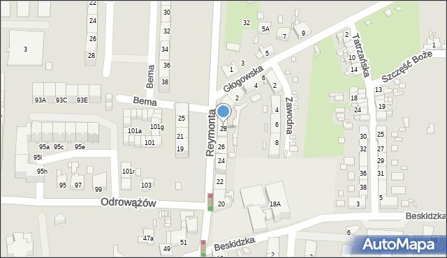 Gliwice, Reymonta Władysława, 28, mapa Gliwic