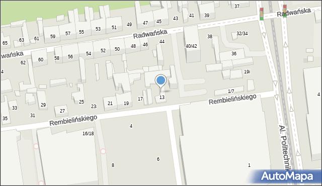 Łódź, Rembielińskiego Rajmunda, 13/15, mapa Łodzi
