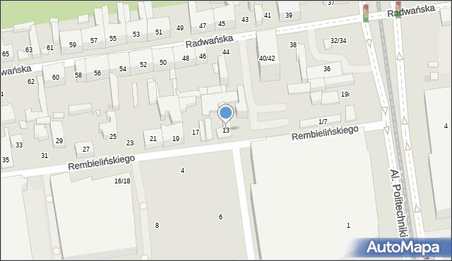Łódź, Rembielińskiego Rajmunda, 13, mapa Łodzi