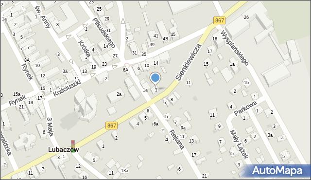Lubaczów, Rejtana Tadeusza, 1, mapa Lubaczów