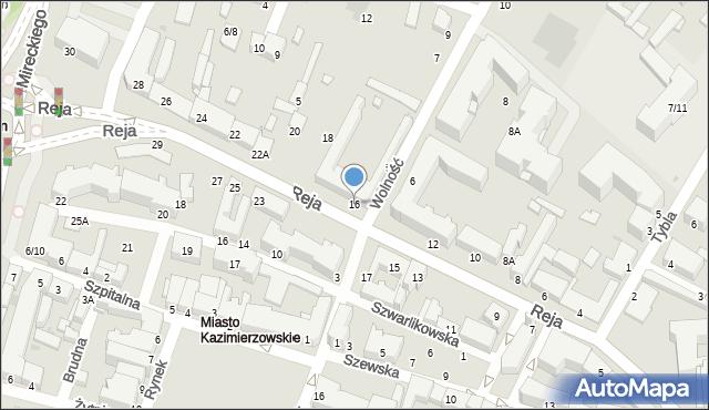 Radom, Reja Mikołaja, 16, mapa Radomia