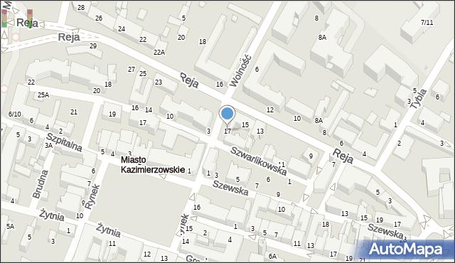 Radom, Reja Mikołaja, 17, mapa Radomia