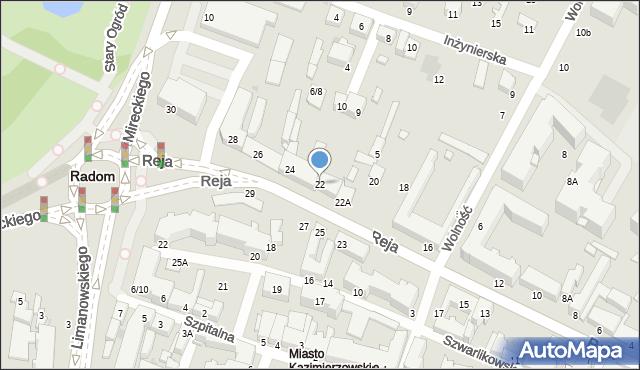 Radom, Reja Mikołaja, 22, mapa Radomia