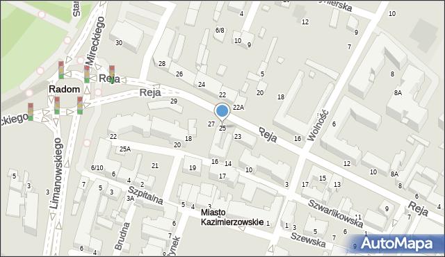 Radom, Reja Mikołaja, 25, mapa Radomia
