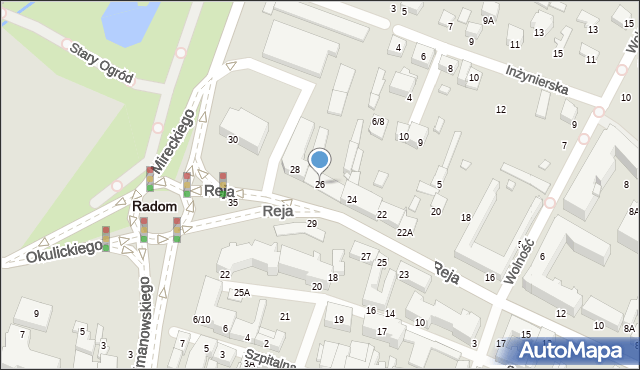 Radom, Reja Mikołaja, 26, mapa Radomia