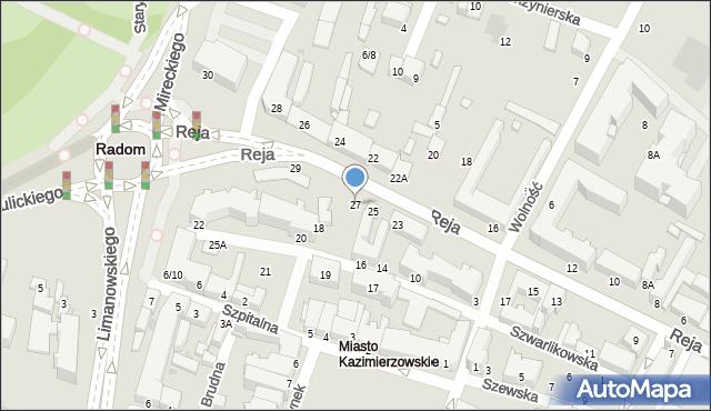 Radom, Reja Mikołaja, 27, mapa Radomia