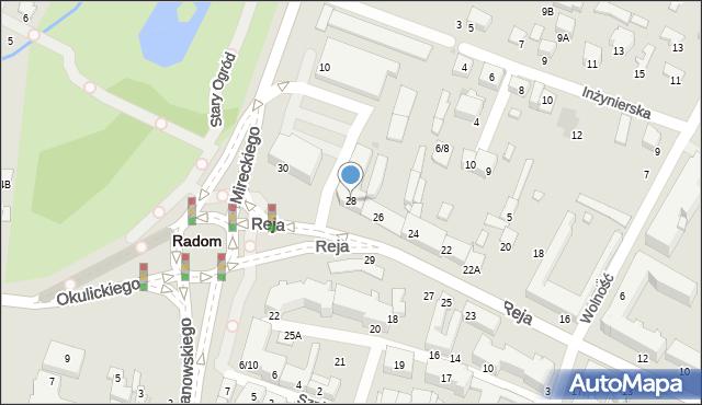 Radom, Reja Mikołaja, 28, mapa Radomia