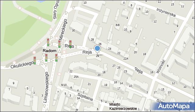 Radom, Reja Mikołaja, 35, mapa Radomia