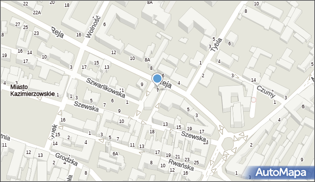 Radom, Reja Mikołaja, 7, mapa Radomia