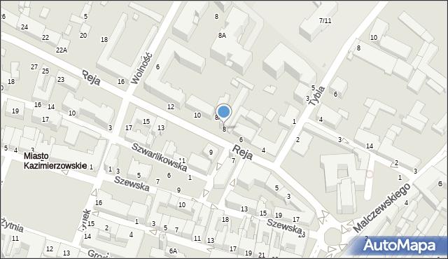 Radom, Reja Mikołaja, 8, mapa Radomia
