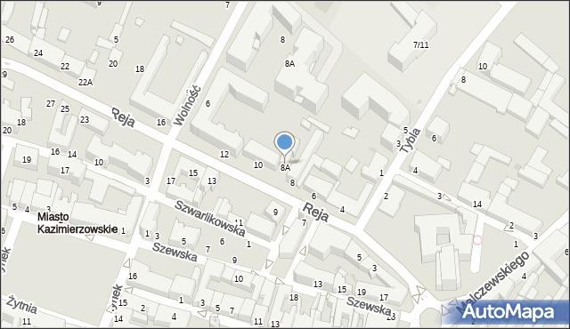 Radom, Reja Mikołaja, 8A, mapa Radomia