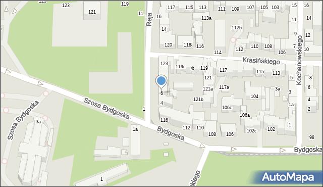 Toruń, Reja Mikołaja, 6, mapa Torunia
