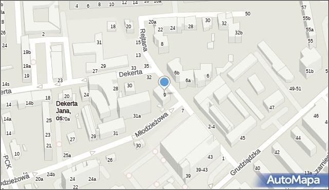 Toruń, Rejtana Tadeusza, 9, mapa Torunia