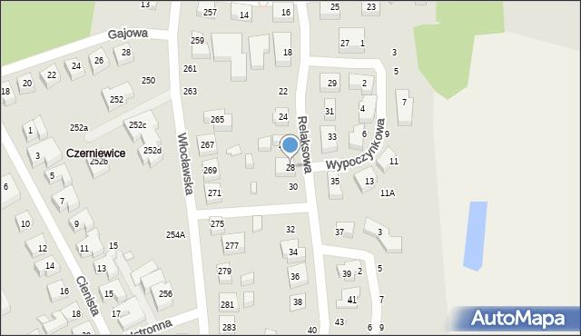 Toruń, Relaksowa, 28, mapa Torunia