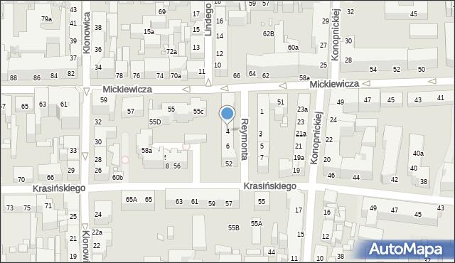 Toruń, Reymonta Władysława, 4, mapa Torunia