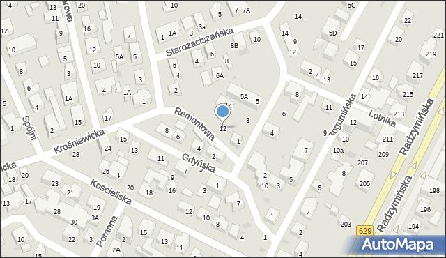 Warszawa, Remontowa, 12, mapa Warszawy