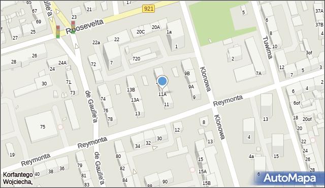 Zabrze, Reymonta Władysława, 11A, mapa Zabrza