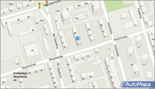 Zabrze, Reymonta Władysława, 13, mapa Zabrza