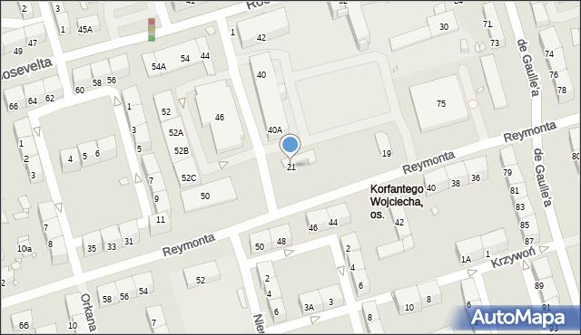 Zabrze, Reymonta Władysława, 21, mapa Zabrza