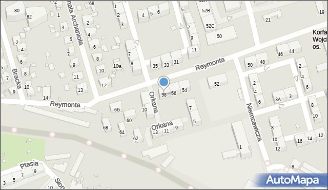 Zabrze, Reymonta Władysława, 58, mapa Zabrza